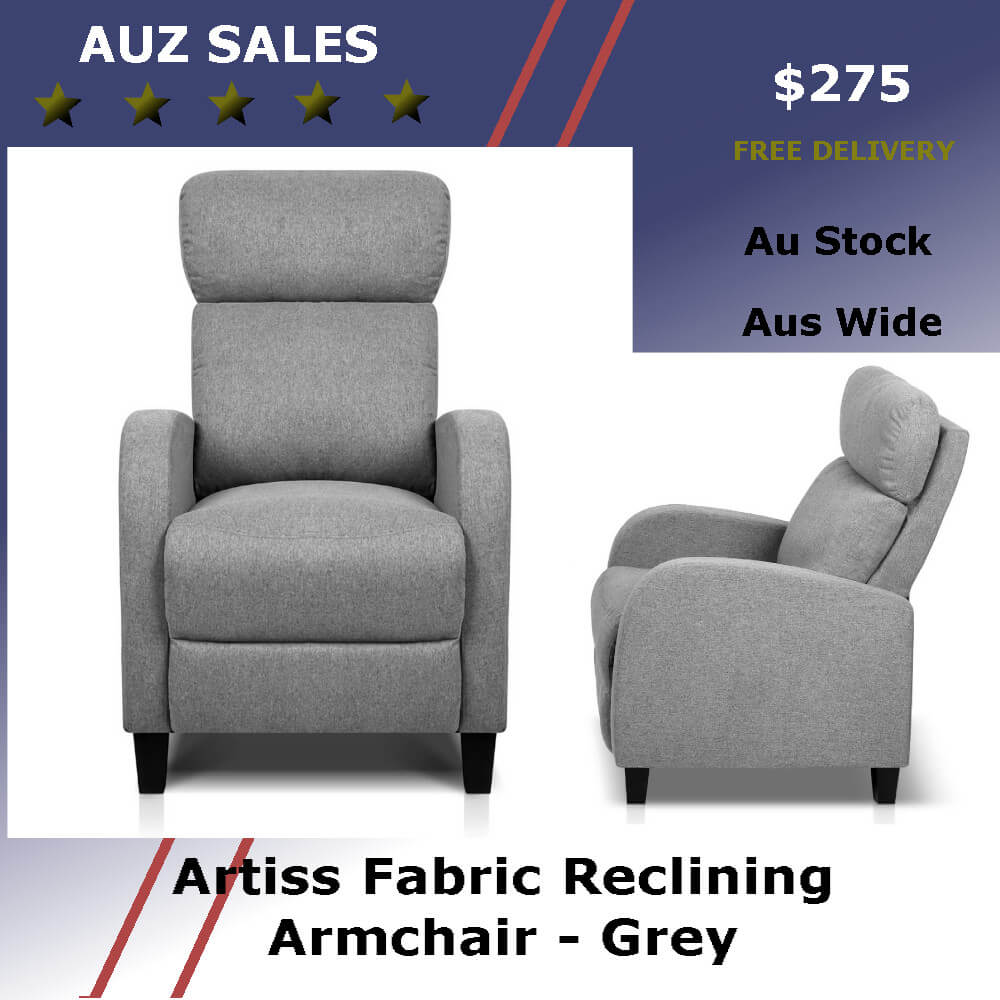 Artiss Fabric Reclining Armchair - Grey - Auz Sales Online