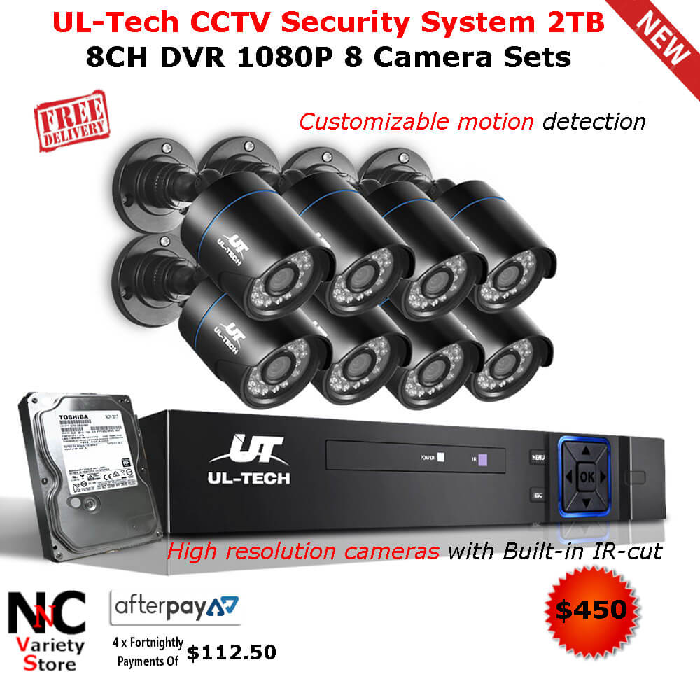 4-Channel 5in1 1080N DVR Outdoor IR-CUT Camera Security System Motion Detection