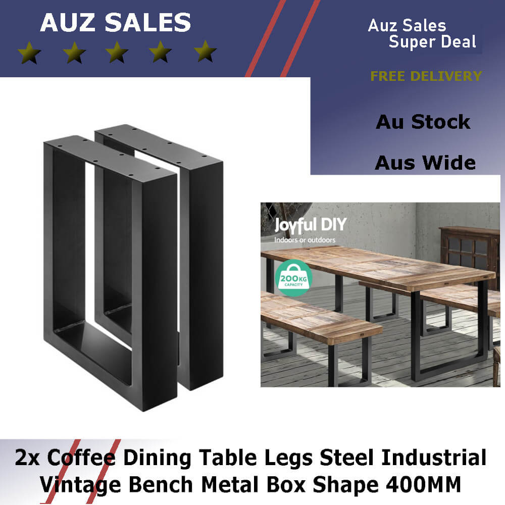 2x Coffee Dining Table Legs Steel Industrial Vintage Bench Metal Box Shape 400mm0 Auz Sales Online